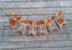 FALL Burlap banner Fall banner fall decor by Sunshineatheart Fall Burlap Banner, Fall Bunting, Diy Banner, Burlap Banners, Fabric Bunting, Burlap Fall Decor, Buntings, Thanksgiving Banner, Holiday Banner