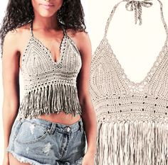 Crochet Bikini top, Sexy Lace beach top, Summer Festival top, Hippie clothes, Fringed Bikini Top by WomensScarvesTrend on Etsy https://www.etsy.com/listing/235316765/crochet-bikini-top-sexy-lace-beach-top