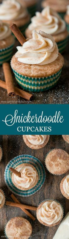 Enjoy your favorite childhood cookie in cupcake form with these soft and fluffy cinnamon sugar Snickerdoodle Cupcakes topped with cream cheese frosting.