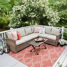 Dalton 5-Piece Wicker Outdoor Sectional Set with Tan Cushions-882914-TAN - The Home Depot