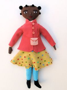 black girl doll in pink coat by MimiKirchner on Etsy
