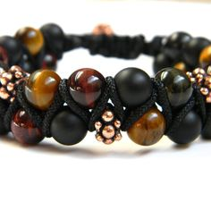 Matte Onyx and Tiger with Copper findings from Caldas Bijoux handcrafted jewelry for $50.00 on Square Market