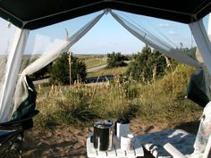 View of Frisco campground from inside our screen tent, Cape Hatteras National Seashore