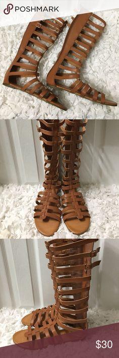 "Madden Girl Gladiator Sandals Tall Gladiator Sandals 13"" Size 7.5M Madden Girl Shoes Sandals"