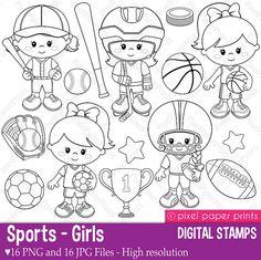 Sports - Girls - Digital stamps set