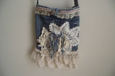 tattered shabby upcycled jeans purse