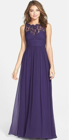 Plum lace gown by Aidan Mattox