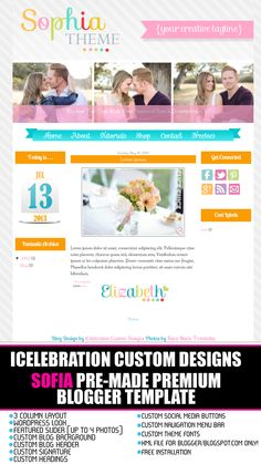 Sofia Premium Blogger Template http://icelebrationcustomdesigns.com