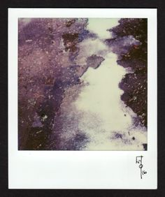 Wallace Polsom, Meltwater, Snow, and Earth (23 February 2016), instant photo taken with a vintage Polaroid Pronto Sonar OneStep Land Camera and expired first-generation Impossible Project SX-70 film.