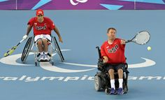 USA's Nicholas Taylor (R) and David Wagner (L) on their way to winning gold in the Wheelchair Tennis Mens Doubles final on centre Court at Eton Manor in the Olympic Park during the London 2012 Paralympic Games (Photo: Gerry Penny / EPA)