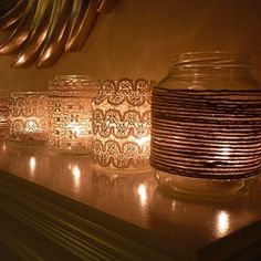DIY: Votives with Lace, Craft of the Day: Vintage Votives - www.casasugar.com