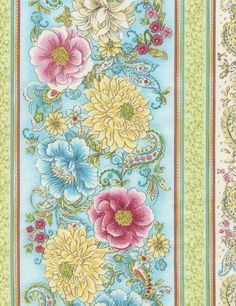 Love C2768-Multi, fabric designer Chong-a Hwang. blue, pink, gold, ivory, light green, white #color