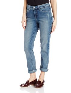 NYDJ Women's Tanya Boyfriend Roll Cuff Jeans, Lake Arrowhead Wash, 12. Get some casual cool with an optional roll cuff and distressed details. Classic five pocket styling, zip fly and button closure. 9.75 rise. 28 inch inseam. 14.5 leg opening.