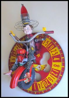 RED MAX & HIS MONO-WHEEL OF CHANCE - JUNKMARKET Style - Sewing, knitting, crochet, needlework, paper crafts, jewelry, tutorials, swaps and SO much more on Craftster.org Element Project, Assemblages, Assemblage Art, Paper Houses, Altars, Three Dimensional, Altered Art, Art Dolls, Needlework