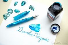 This fountain pen is a terrific match for turquoise! December's birthstone is Turquoise and is represented by the Edison Nouveau Premiere Caribbean Sea and Noodler's Navajo Turquoise ink. Read this great blog to discover more birthstone matches. Pin for later.