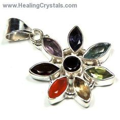"""Chakra Pendants - """"Flower"""" Faceted Pendant (India)- Code HCPIN10 = 10% off"""