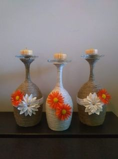 Yarn Magic With Vibrant Flowers To Add Beauty In Candle Holders