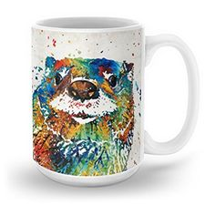 Society6 Otter Art  Ottertude  By Sharon Cummings Mug 15 oz -- Check out this great product.