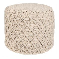 Carly Macrame Pouf ❤ liked on Polyvore featuring home, furniture, ottomans and macrame furniture