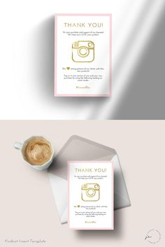 Product Insert Thank you Blush Pink Gold Template Thank You Card Template, Thank You Cards, Pink And Gold, Blush Pink, Business Thank You, Thanks Card, Packaging Design, Packaging Ideas, Dessert Packaging