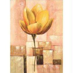 Image 3D Fleur - Lotus sur fond à carreaux 24 x 30 cm
