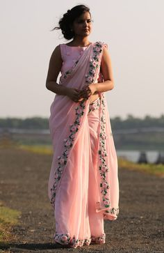 PRODUCT DESCRIPTION: Featuring a balmy baby pink pure chiffon saree with beautifully embroidered satin pink rose vines along the edges. Chiffon Saree, Saree Dress, Dress Up, Silk Chiffon, Dress Skirt, Indian Dresses, Indian Outfits, Original Design, Elegant Saree