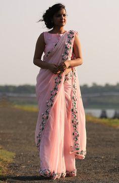 Baby Pink Rose Pure Chiffon Ribbon-Work Saree                                                                                                                                                     More
