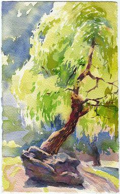 Tree watercolor painting print  wood painting print by OlgaSternyk