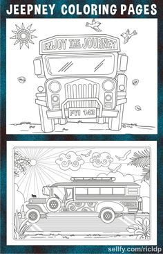Another set of Philippine Jeepney coloring pages.Two digital drawings with and without text versions. Philippines Geography, Philippines Culture, Manila Philippines, Filipino Art, Filipino Culture, Jeepney, World Friendship Day, Coloring Pages, Around The World Theme