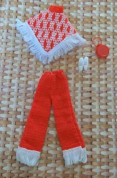 Vintage Clone Barbie Doll HK Clothing Maddie Mod Crocheted Poncho Pants Outfit | eBay