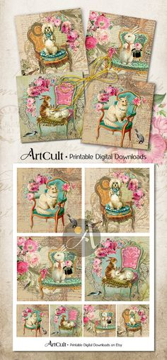 Printable download MY LITTLE ZOO Digital Collage Sheet 3.8x3.8 inch size Images for coasters, greeting cards, scrapbooking, by Art Cult