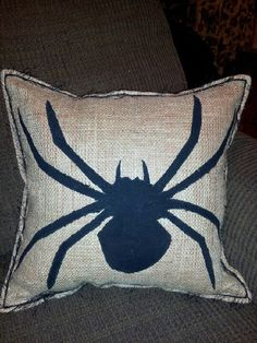 Burlap Halloween pillow with Black Silouette by adonaldson123, $28.00