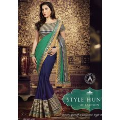 Designer Amaira Blue & Sea Green Embroidery Georgette Saree with Blouse at just Rs.1580/- on www.vendorvilla.com. Cash on Delivery, Easy Returns, Lowest Price.