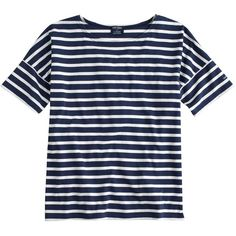 Saint James For J.Crew Short-Sleeve Slouchy T-Shirt ($120) ❤ liked on Polyvore featuring tops, t-shirts, shirts, tees, blue stripe shirt, slim fit shirt, short sleeve t shirts, blue striped shirt and short sleeve shirts