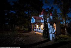 Another display at the abandoned Fairyland Village located in Lobethal. A snowman stands guard of his house