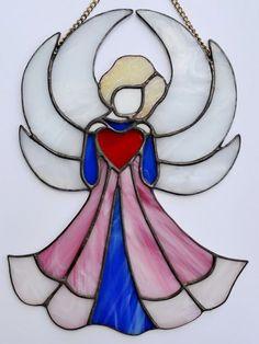 Angel with a heart, Guardian Angel Suncatcher, Stained glass angel Window…