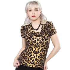 COLLECTIF LEOPARD JANE TOP Feeling like a plain Jane lately? Why not spice things up with this cute and cozy retro inspired leopard top by Collecitf. Featuring a wide collared scoop neck with center bow, this top is the perfect pair for your black capris or pencil skirt. $45.00 #collectif #top #leopard #pinup #retro #rockabilly