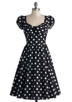 Fun of Those Days Dress, #ModCloth.  I think this dress is just about perfect!  Artistic take on polka dots; draped and pleated neckline; darling puffed sleeves.  LIKE.  All I'd need is a place and an occasion to wear it!