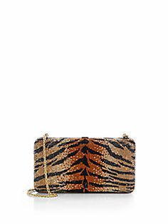 Judith Leiber Tiger-Patterned Large Airstream Minaudiere Cost