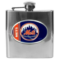 MLB New York Mets 6oz Stainless Steel Flask by Great American Products. $29.99. Handcrafted  high-quality metal logo. Proudly displays hand-crafted metal emblem featuring the Team Logo.. High quality collectible design. Officially Licensed flask decorated in team colors.
