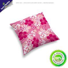 Pink Hibiscus and Butterflies Hawaiian Throw Pillow Case