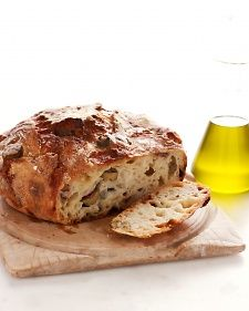 Martha Bakes: Martha Stewart's No-Knead Olive Cheese Loaf baked in cast-iron pot.