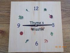 Thyme's Wastin' Kitchen Clock by WagonerEnterprises on Etsy