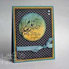 Birds and Branches Sympathy and Prayers Greeting Card Handmade in Blue Yellow Black