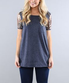 Another great find on #zulily! Navy Sequin Sleeve Tunic #zulilyfinds