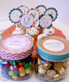 Oz the Great and Powerful inspired party with free printable cupcake toppers, labels and pennant banner.