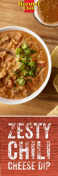 Slow cooked HORMEL® Chili, ground beef and diced chilies melted into one creamy taste. It doesn't get zestier than this Zesty Chili Cheese Dip. | HORMEL® Chili | Zesty Chili Cheese Dip | Party Appetizers | Slow Cooker Recipe |