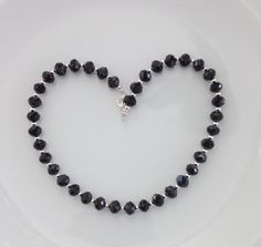 Black Crystal Necklace, Gift for Her, Birthday Gift, Christmas Gift, Anniversary Gift for Wife, Special Occasion Necklace, Gift for Mom by AwfyBrawJewellery on Etsy https://www.etsy.com/uk/listing/476072516/black-crystal-necklace-gift-for-her