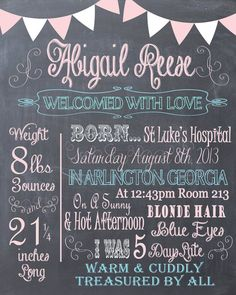 Newborn Birth Chalkboard Memory- Baby Birth Stats Print- Custom pdf file for Printing
