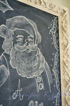 Holiday chalkboard art with Santa Clause! Blackboard Art, Chalkboard Drawings, Chalkboard Print, Chalkboard Lettering, Chalkboard Designs, Diy Chalkboard, Chalk Drawings, Thanksgiving Tafel, Thanksgiving Chalkboard